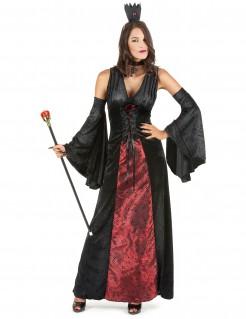 Mittelalter-Vampir Damenkostüm schwarz-rot