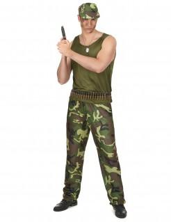 Militär Herrenkostüm Soldat grün-braun