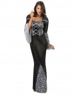 Elegante Vampirlady Halloween-Damenkostüm schwarz-weiss