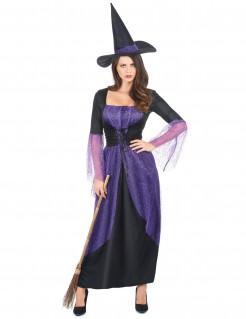 Bezaubernde Hexe Halloweenkostüm für Damen Magierin lila-schwarz