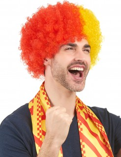 Spanien Afro-Perücke rot-gelb