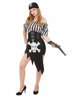 Piratin Damenkostüm schwarz-weiss
