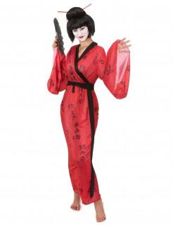 Edles Geisha Damenkostüm rot-schwarz
