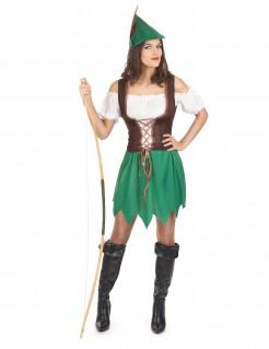 Bezaubernde Bogenschützin Damenkostüm Mittelalter grün-braun-weiss