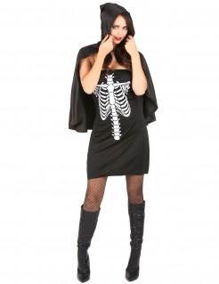 Heisse Skelettlady mit Cape Halloweenkostüm schwarz-weiss
