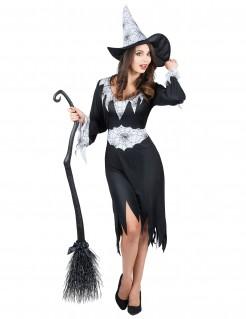 Elegante Spinnen-Hexe Damenkostüm schwarz-weiss