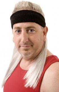 80er Jahre Stirnband mit Vokuhila von Mullet on the Go™ schwarz-blond