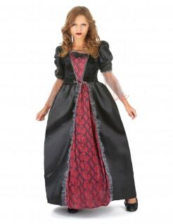 Barock-Vampirin Halloween-Kinderkostüm rot-schwarz