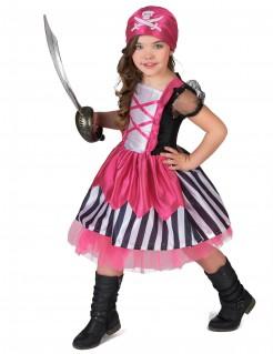 Piratenkostüm für Mädchen schwarz-weiss-pink