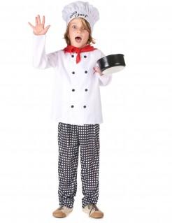 Chefkoch-Kinderkostüm Küchenchef weiss-rot-schwarz