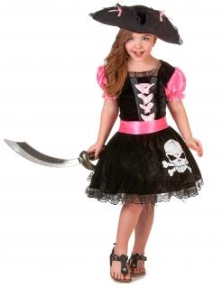 Piratinnen-Mädchenkostüm Totenkopf schwarz-rosa
