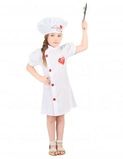 Chefköchin Kinder-Kostüm weiss-rot