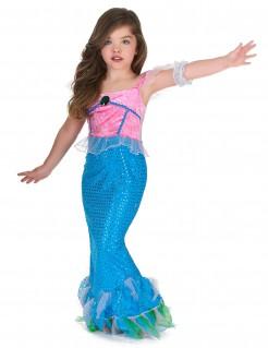 Meerjungfrau-Mädchenkostüm rosa-blau-weiss