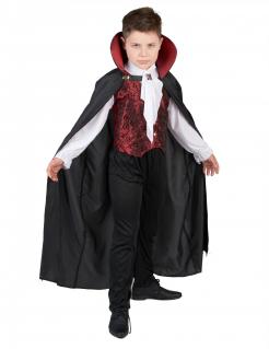 Eleganter Vampir-Kostüm für Jungen Halloweenkostüm schwarz-rot-weiss