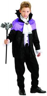 Vampirgraf Kinder-Kostüm lila-weiss-schwarz