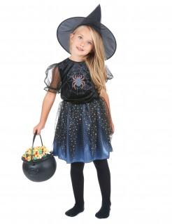 Bezaubernde Spinnen-Magierin Halloweenkostüm für Mädchen Hexe schwarz-silber