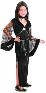 Kleine Spinnenhexe Halloween-Kinderkostüm für Mädchen schwarz-silber