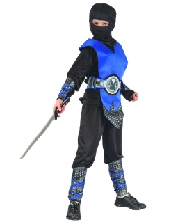 Geheimnisvoller Ninja Kinderkostüm schwarz-blau-grau