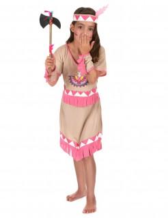 Indianerin Mädchen-Kostüm Squaw beige-rosa