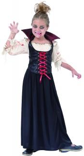 Blutsaugende Vampirin Halloween-Kinderkostüm schwarz-rot-weiss