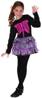 Niedliches Skelett-Mädchen Halloween-Kinderkostüm schwarz-pink