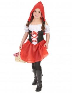 Rotkäppchen-Mädchenkostüm Märchen rot-weiss-schwarz