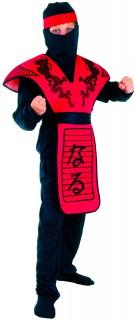 Ninja Kostüm Drachen-Print für Kinder rot-schwarz