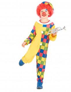 Witziges Clown-Kinderkostüm kariert gelb-bunt