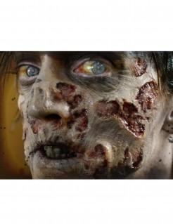 Zombie-Wunden Halloween-Tattoo 4-teilig grau-rot