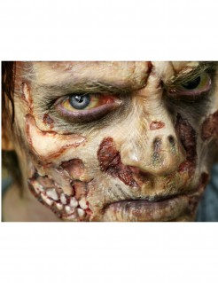 Zombie-Haut Halloween-Tattoo 4-teilig grau-rot