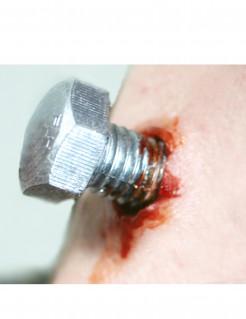 Schrauben-Wunden Bolzenwunde 2 Stueck silber-rot