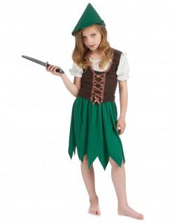 Bogenschützin Waldmädchen Kinder-Kostüm grün-braun