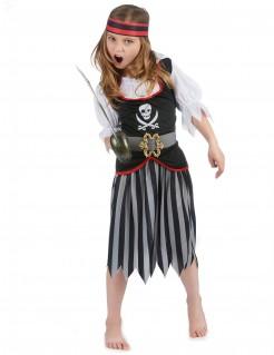 Verwegene Piratin Kinderkostüm Seeräuberin grau-rot-schwarz