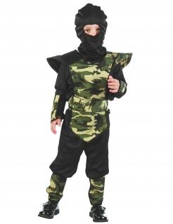 Tarnfarben Ninja Kinderkostüm schwarz-camouflage