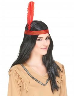 Indianer-Langhaarperücke mit Federkopfband schwarz-rot