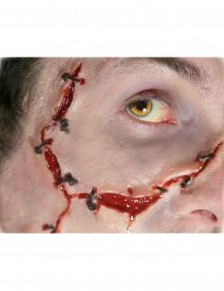 Genähte Wunden Tattoo Halloween-Makeup 2-teilig hautfarben-rot