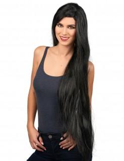 Sehr lange Damen-Perücke schwarz