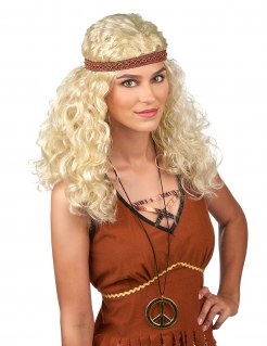 Hippie Damen-Perücke Locken blond