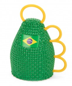 Brasilien Rassel Maraca Fanartikel Grün-gelb-blau