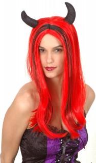 Sexy Teufelin-Perücke mit Hörnern rot-schwarz