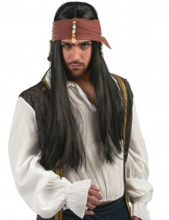 Piraten Herren-Perücke schwarz-braun