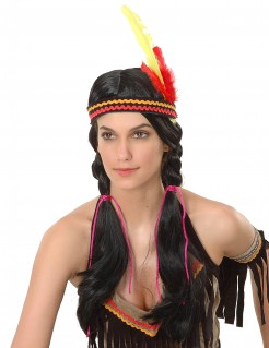 Squaw-Perücke Indianer-Damenperücke mit Federkopfband schwarz