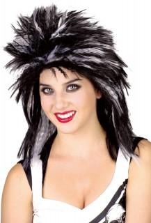Punkrockerin Damen-Perücke schwarz-weiss