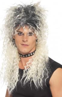 80er Punk Rockstar Herren Vokuhila Perücke lang blond-schwarz