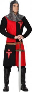 Ritter-Herrenkostüm Mittelalter schwarz-rot