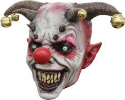 Dämon-Harlekin Halloween-Maske weiss-rot-braun