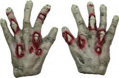 Halloween Zombie-Handschuhe grün-rot