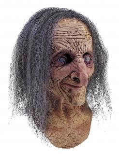 Gesichtsmaske alte Hexe Halloween Kostümaccessoire beige-grau