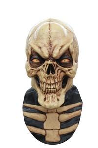 Horror-Skelett Halloween-Maske beige-schwarz