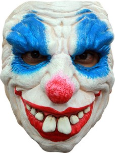 Dämon-Clown Halloween-Maske weiss-rot-blau